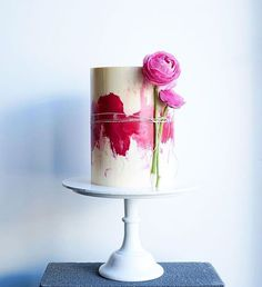 Contemporary Wedding Cakes by Don't Tell Charles ~ watercolor buttercream cake ~ love the creative way the flowers are attached!