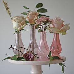 Dainty Pink Glass Bud Vases – Set of 4 - The Wedding of My Dreams