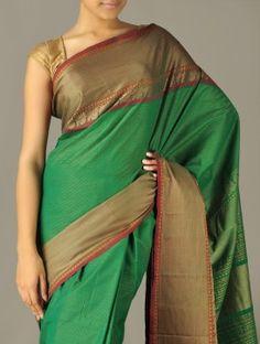 Green Striped Ethno Cotton Saree by Taarunyas