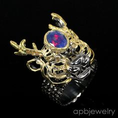 Handmade Jewelry Natural Blue Opal 925 Sterling Silver Ring Size 7.5/R31642 #APBJewelry #Ring
