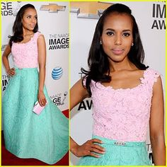 Inspired Style: Kerry Washington in Pink and Green, AKA