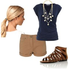 Casual summer outfit. Cute look.  Change the shorts to Capri length for me, though.