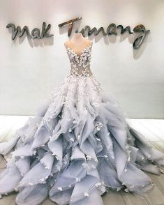 Princess wedding ballgown with illusion neckline, butterfly applique and skirt with ruffles by Filipino designer Mak Tumang Source by myimaginaryfrie gowns elegant classy Princess Style Wedding Dresses, Dream Wedding Dresses, Designer Wedding Dresses, Wedding Gowns, Princess Dresses, Cute Prom Dresses, Ball Dresses, Pretty Dresses, Pageant Dresses