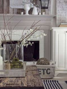Fireplace ReDo: This creamy white brick and dove grey mantle. Paint the fireplace make it pop Living Room Update, My Living Room, Living Room Decor, Cottage Living, Cozy Living, Coastal Living, Country Living, Living Area, Grey Fireplace