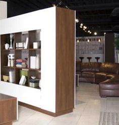 bronson room divider | contempo wall - shelves one side, tv the