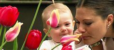 (14) Tumblr - Princess Estelle delighting in showing mum Crown Princess Victoria a lovely tulip!