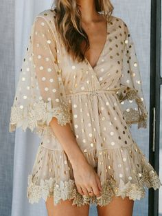 c47f3b1e0146 Gold Polka Dots Embroidered Women s Summer Dresses Casual Sweet Mesh  Dresses Casual Summer Dresses
