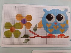 Cross Stitch Owl, Cross Stitch Charts, Cross Stitch Embroidery, Cross Stitch Patterns, Palestinian Embroidery, C2c, Chrochet, Projects To Try, Creations