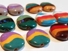 Kazuri Pita Pat Striped Beads, 12 pieces - Fair Trade Beads, Matched Pairs, Ceramic Beads, Kazuri Beads, Striped Beads, Earring Pairs by offthebeadingpathva on Etsy