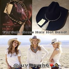 """Auth Woven Horse Hair COWGIRL HAT BAND. Authentic Woven Horsehair COWGIRL HAT BAND. These Custom Handcrafted Bands of Woven Horsehair will sit on your Hat comfortably and you won't even know it's there! Thin, Light weight, Adjustable size. Unique Tassel Slide Design. Tassel measures approx 4"""" Hat Band Measures 1/4"""" inch X approx. 23"""" length and it is adjustable to almost any size. You can decorate like you want to! See pictures! My Black Cowgirl Hat is not for sale. Only the Woven Hat Band…"""