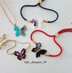 Handmade Beads, Handmade Bracelets, Handmade Jewelry, Macrame Bracelets, Diy Necklace, Crochet Necklace, Butterfly Earrings, Micro Macrame, Stud Earrings
