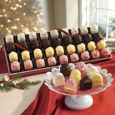 Incredible…and then some! These indulgent morsels feature the same classic flavors of our Incredible Petits Fours (Chocolate, Lemon, Strawberry, Vanilla), but with an extra dollop of rich butter creme atop each one before coating.