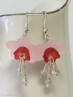 Sakura Pink Lucite Flower Earrings with Beaded Stamens by mizufusion,