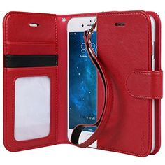 """Compatible with all 4.7"""" iPhone 6 models - 2014 Premium synthetic leather folio type wallet case with stylish and secure wrist strap Rubberized semi-transparent clear PC (Polycarbonate) case to style your black, gold or silver iPhone 6"""