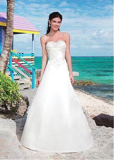 FABULOUS SATIN A-LINE SWEETHEART NECKLINE RAISED WAISTLINE WEDDING DRESS IVORY WHITE LACE BRIDAL GOWN HANDMADE