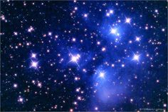 M45 - The Pleiades Nebula and Cluster  Also know as the Seven Sisters, the Pleaides are named for the seven stars that can be seen with excellent eyesight. The Pleiades is a relatively nearby open cluster, which according to new data from the Hipparcos satellite is located at a distance of 370 light years.