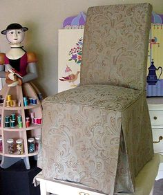 """Priscilla's Parsons Chair Slip Cover -  By Mary Maki Rae -    """"Isabella"""" Wood Sculpture   By Robert Rae"""