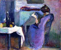 Henri Matisse - Reading Woman in Violet Dress (1898)