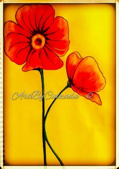 Red poppies by ArtByCalzada on Etsy