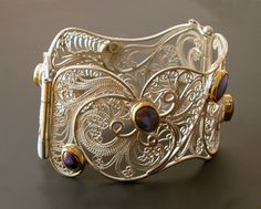 Bracelet | Victoria Lansford. 'Stardust on my Sleeve'. Sterling and fine silver, 22k gold, Koroit Opals