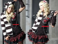 Dolly Gothic Lolita PUNK Kera Cat Hoodie STRIPED CYBER SWEATER Jacket 71042W S~L