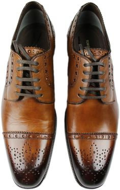 TOM FORD BROWN CAP TOE LEATHER LACE-UP MEN'S SHOES-8.5TT-MADE IN ITALY #TOMFORD #LaceUp
