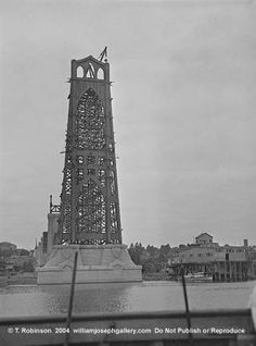 (Monner WJG 236 St Johns Bridge East Tower Construction 7.27.1930 Willamette River Oregon USA photographs bw historic wsl verticals)