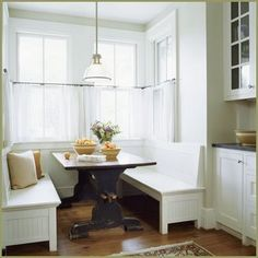 KITCHEN NOOK - so inviting for our craftsman home.