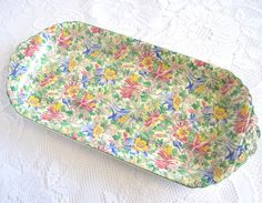 Rare Vintage Sandwich Platter, Floral Chintz, Enoch Wedgwood, 1930s by TheWhistlingMan on Etsy SOLD