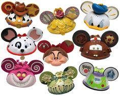 Mickey Mouse Ear Hat Christmas Ornaments of Disney's popular characters like:  Sheriff Woody, Beauty - Princess Belle, Donald Duck, Dalmation (Lucky,) Grumpy, Tow Mater, Chesire Cat, Princess Tiana, Buzz Lightyear.