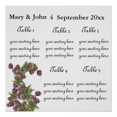 "Floral Wedding ""Roses"" seating chart."