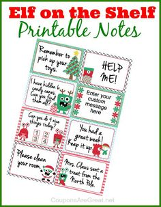 Free Elf on the Shelf printable notes. There is even a really cool customizable box that allows you to type your own message! #ElfOnTheShelf