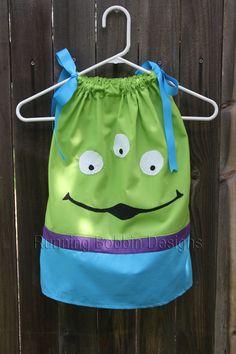 Toddler Girl or Baby Girl Outfit Toy Story Little Green Men Alien Pillowcase Dress.  via Etsy.