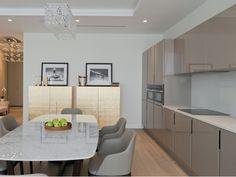 Прямая серая кухня 4 метра в минималистском стиле