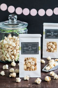 About to Pop Caramel Corn Baby Shower Favors from www.evermine.com
