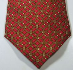 HERMES 7044 TA Rich Red with Brown Gold Links France REAL Tie 100% Silk RARE #Hermes #NeckTie