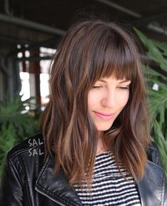 Layered Brunette A-Line Lob with Fringe Bangs and Highlights Medium Length Hairstyle