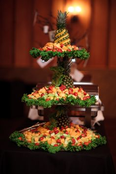 Fruit tower by caterers at Integrity Hills - photography by… Fruit Centerpieces, Fruit Decorations, Edible Arrangements, Food Decoration, Fruit Tables, Fruit Buffet, Fruit Trays, Fruit Plate, Party Platters