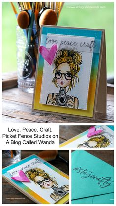 "Picket Fence Studios 4/""X8/"" Stamp Set-Coffee In Hand"