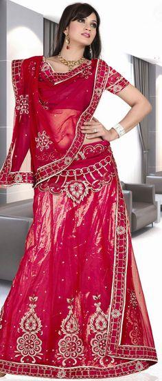 Dark #Pink Net Flared #Lehenga Choli with Dupatta @ $88.48 | Shop @ http://www.utsavfashion.com/store/sarees-large.aspx?icode=ssl2023