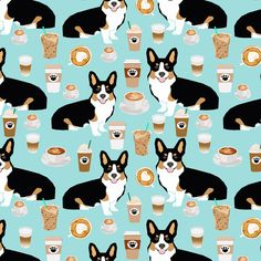 1 yard (or 1 fat quarter) of corgi tri colored corgis and coffees fabric - cute corgi design by designer petfriendly. Printed on Organic Cotton Knit, Linen Cotton Canvas, Organic Cotton Sateen, Kona Cotton, Basic Cotton Ultra, Cotton Poplin, Minky, Fleece, or Satin fabric.  Available in yards and quarter yards (fat quarter). This fabric is digitally printed on demand as orders are placed. Unlike conventional textile manufacturing, very little waste of fabric, ink, water or electricity is…