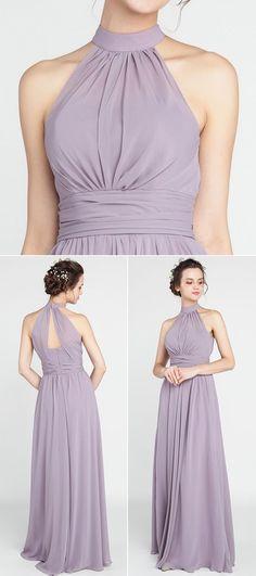 lavender halter neckline bridesmaid dresses
