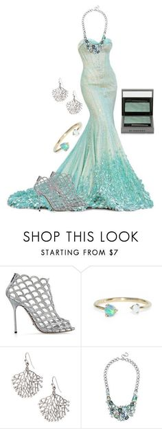 """Mermaid prom dress"" by fashion-life4me on Polyvore featuring Sergio Rossi, JustFab, BaubleBar, Burberry, stylish, mermaid, PROMNIGHT, fashionset and statementnecklaces #sergiorossimermaid"