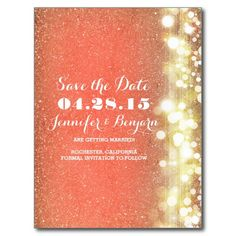glitter string lights gold and peach save the date