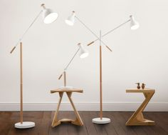 Cohen Floor Lamp in white and natural oak £99 | made.com