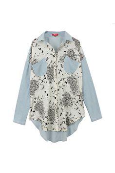 Butterfly Print Blue Shirt    $89.99  #romwe #Romwe