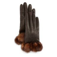 Your Essential Glove Guide for Fall, From Leather to Studded to Totally Elegant - Gepa Gloves for Neiman Marcus napa leather gloves with mink-fur trim, $350 neimanmarcus.com