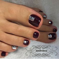 Trendy Ideas For Gel Manicure Colors Nail Tutorials Pedicure Designs, New Nail Designs, Black Nail Designs, Manicure E Pedicure, Black Pedicure, Pedicure Ideas, Toe Nail Color, Toe Nail Art, Nail Colors