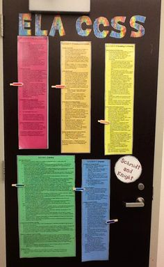 CCSS ELA 11-12 hanging in our CP English Classroom. My co-teaching partner and I move the clothespins weekly to highlight the standards we are covering in our plans. This also covers Charlotte Danielson Domains 1, 2, and 3.
