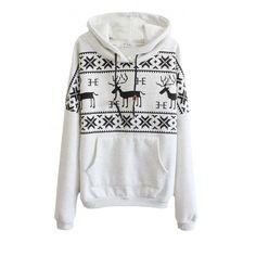 Mono Deer Print Long Sleeve Pocket Front Hoodie ($22) ❤ liked on Polyvore featuring tops, hoodies, long sleeve hooded sweatshirt, hooded pullover, pocket sweatshirt, hoodie sweat shirt and pullover hooded sweatshirt